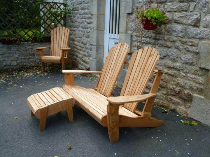 Recycled pallet Adirondack chair set