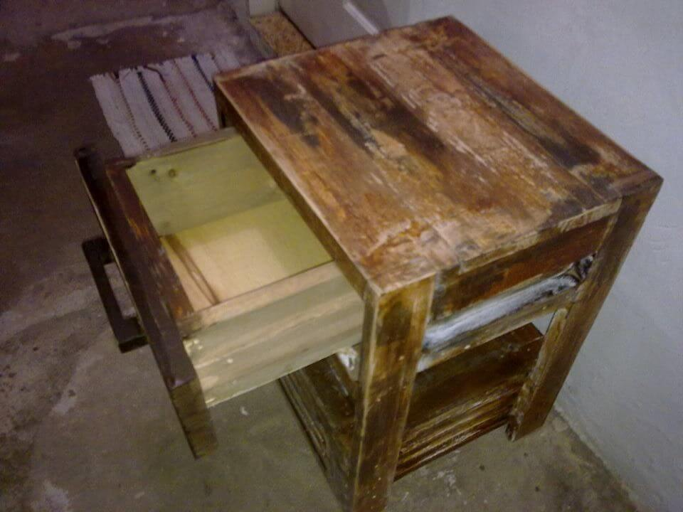 upcycled pallet rustic nightstand with one drawer