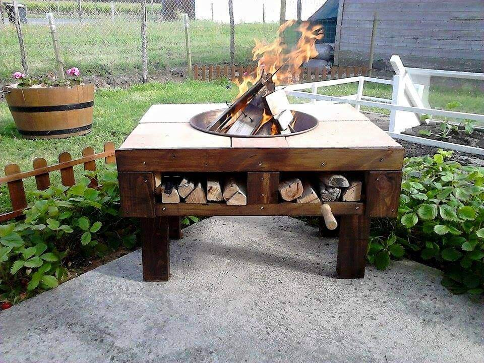 upcycled pallet patio fire-pit table