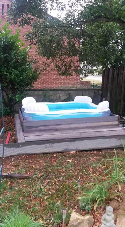 Diy pallet outdoor platform pool 99 pallets for Repurposed swimming pool
