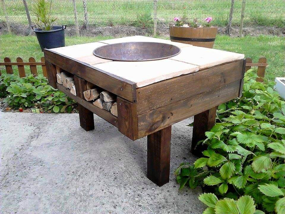 fire-pit table made of pallets