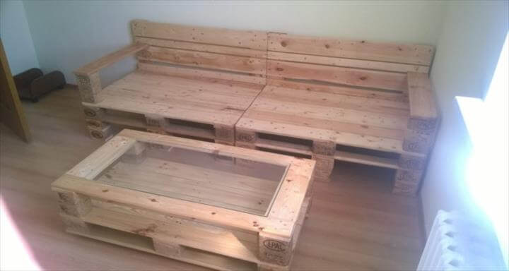 handmade wooden pallet sofa and coffee table