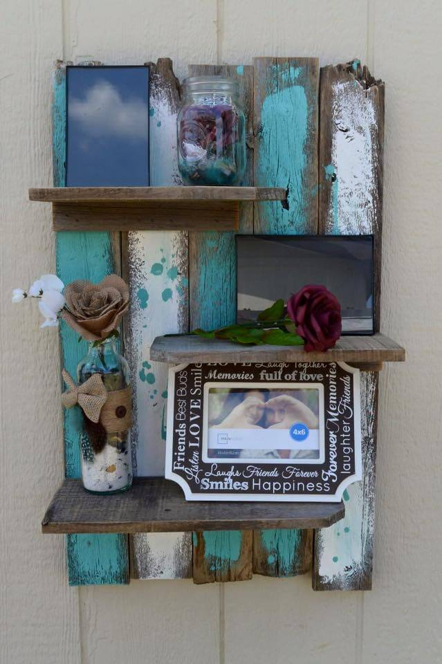 Diy pallet decorative wall shelf 99 pallets for Shelves made out of wood pallets