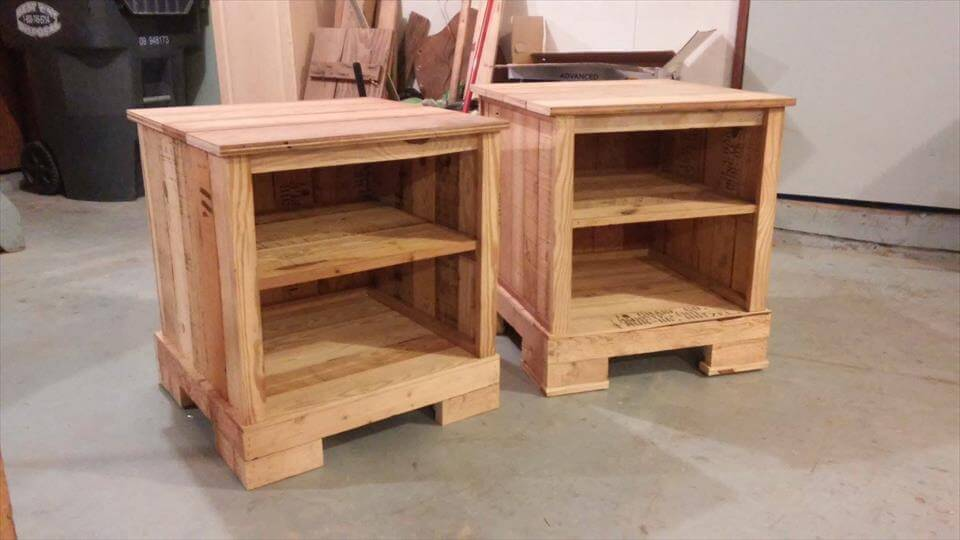 Recycled pallet night stand pair