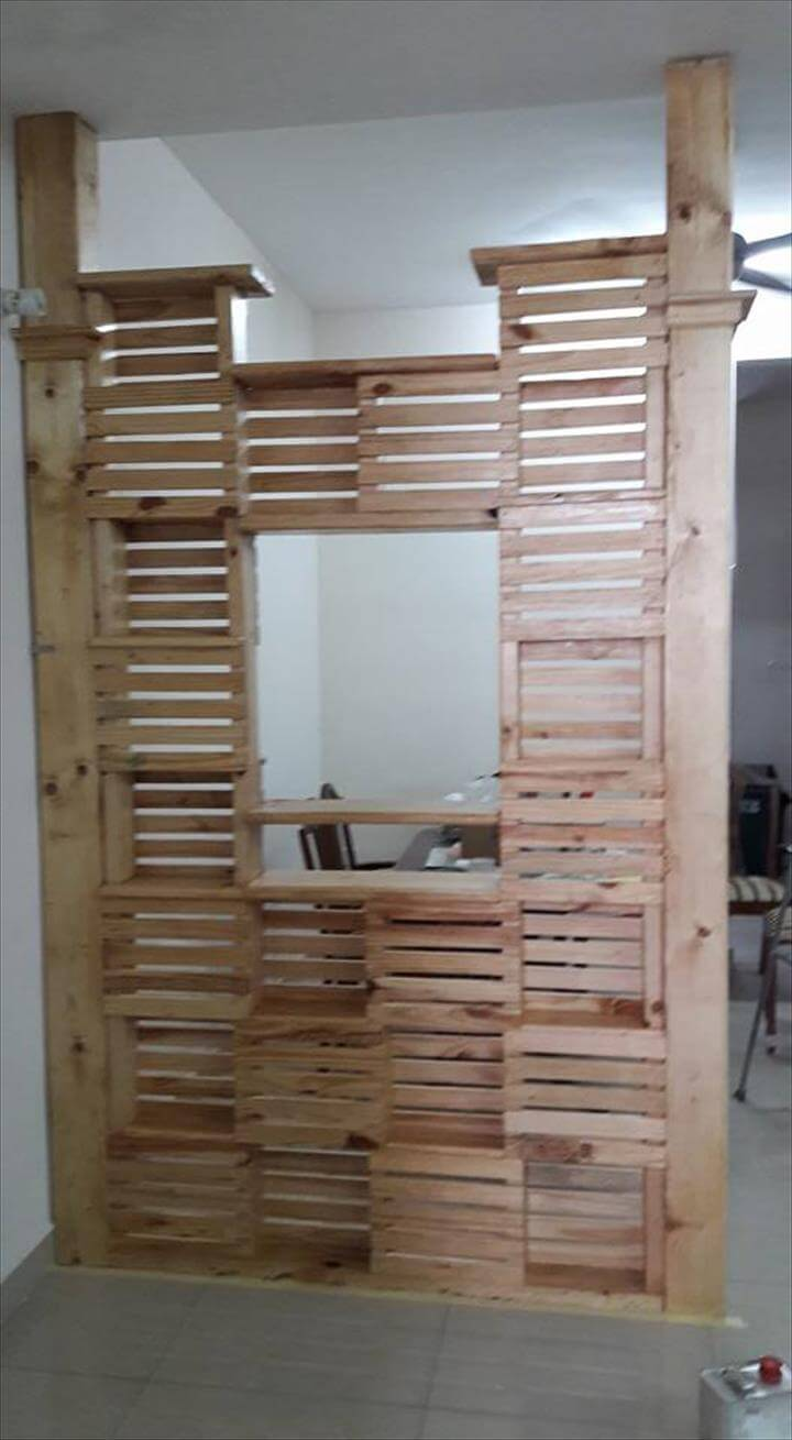 handmade wooden pallet office room divider