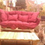 DIY Pallet Patio Sofa with Red Cushion