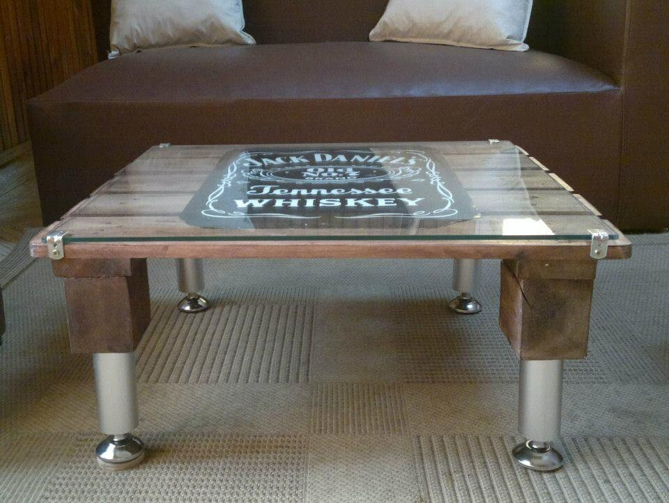 wooden pallet coffee table with metal hardware legs