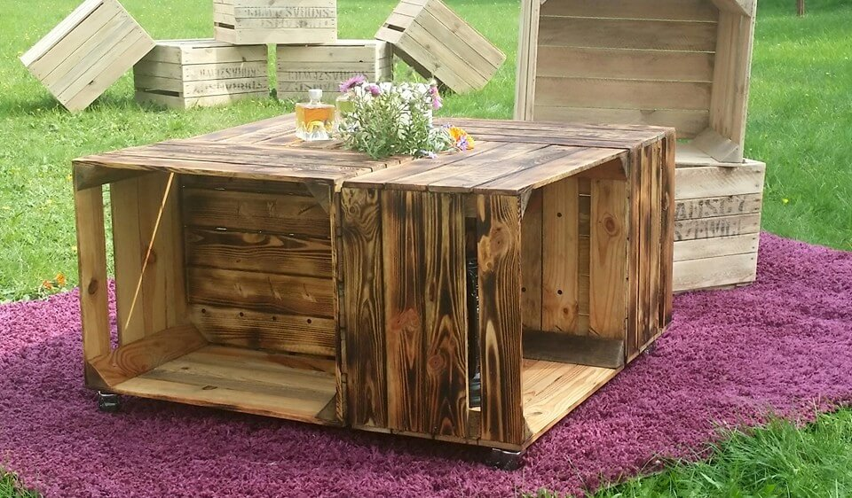 wooden pallet crate coffee table