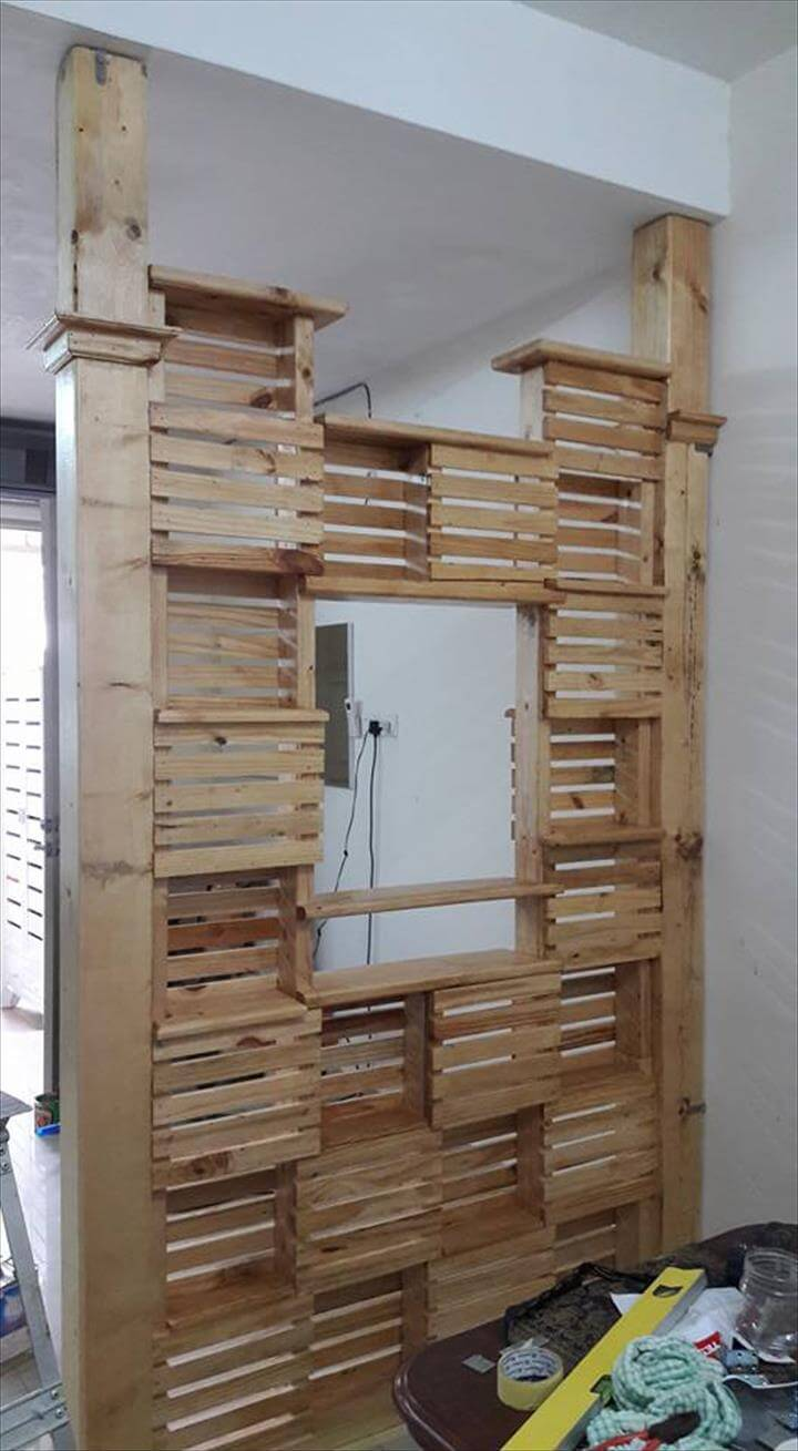 diy pallet office room divider