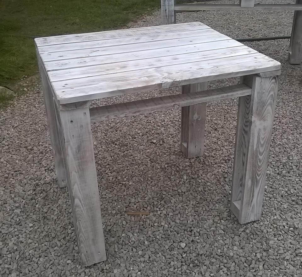 DIY Pallet Reclaimed White Washed Tables   99 Pallets