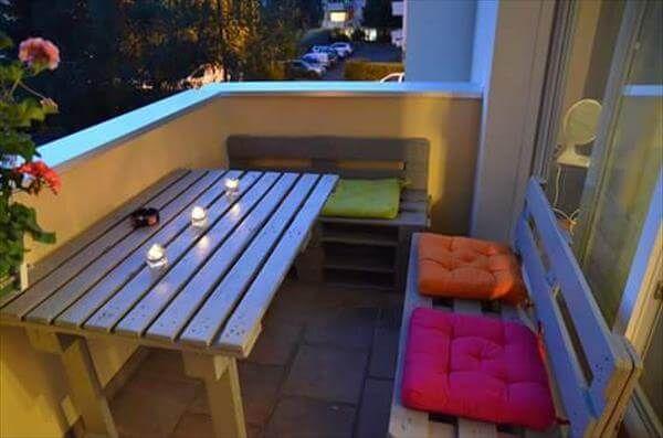 wooden pallet balcony furniture set