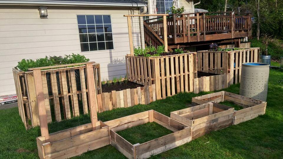 handmade wooden pallet raised garden beds