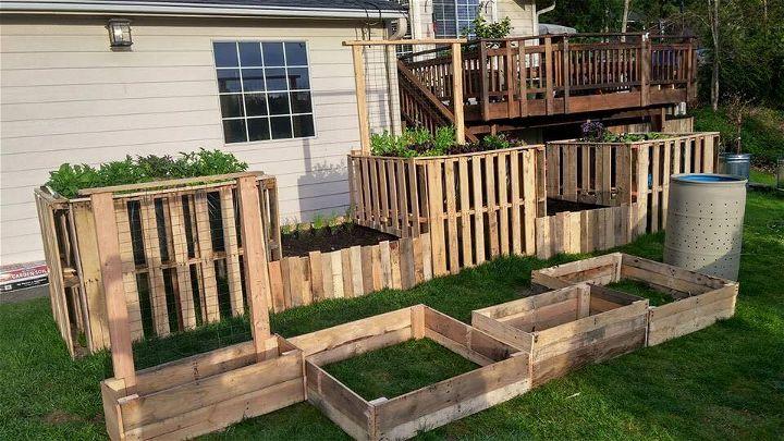 handmade wooden pallet raised garden beds