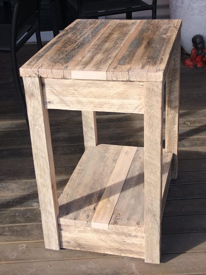Diy pallet side table nightstand pallets
