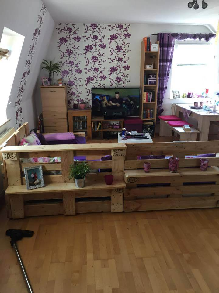Diy pallet sofa with storage shelves
