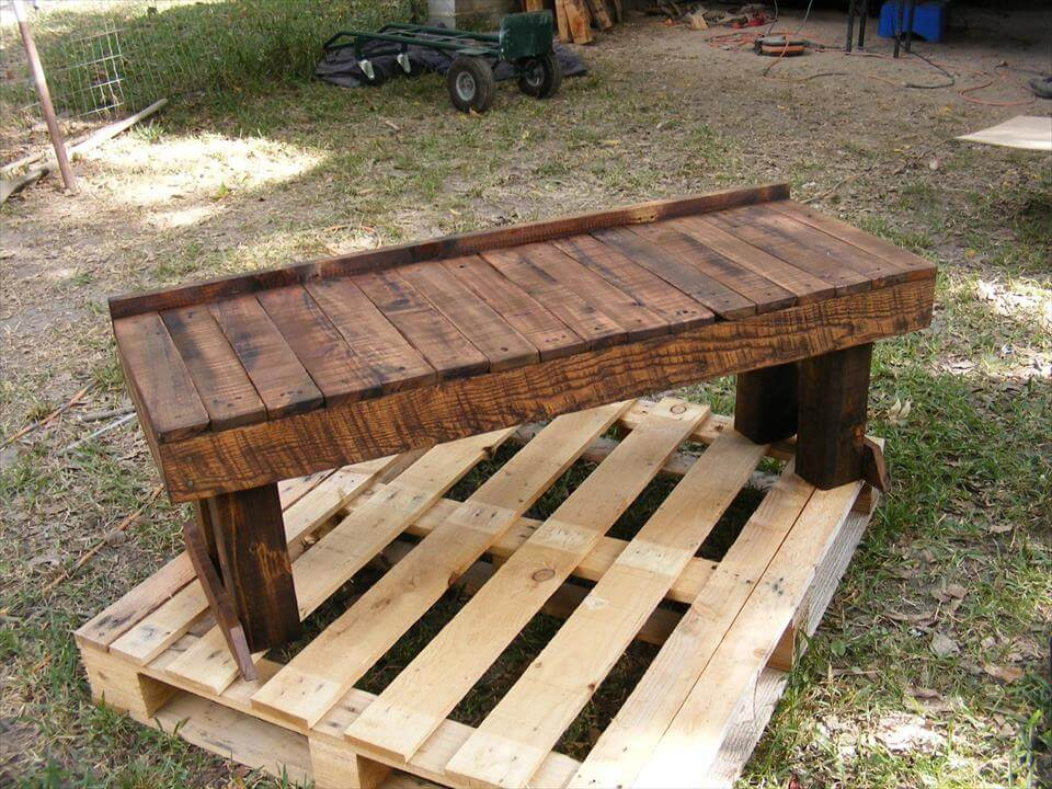 Pallet benches and dining table set 99 pallets for Building a bench from pallets