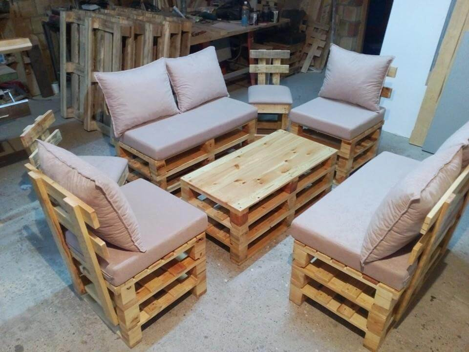Pallet seating set diy for Canape angle palette