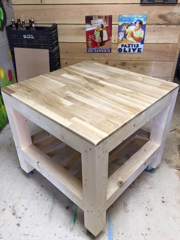 Doubled shelved pallet coffee table
