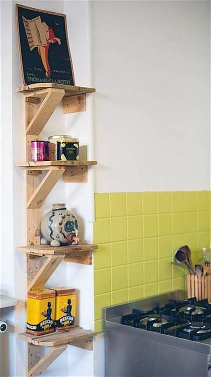 diy pallet kitchen shelves