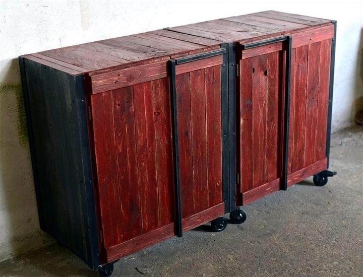 diy pallet storage cabinets