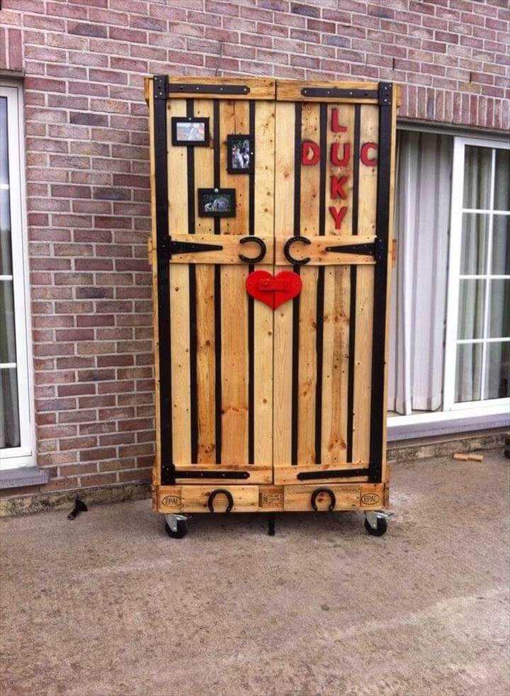 diy pallet armoire pallet cabinet on wheels 99 pallets