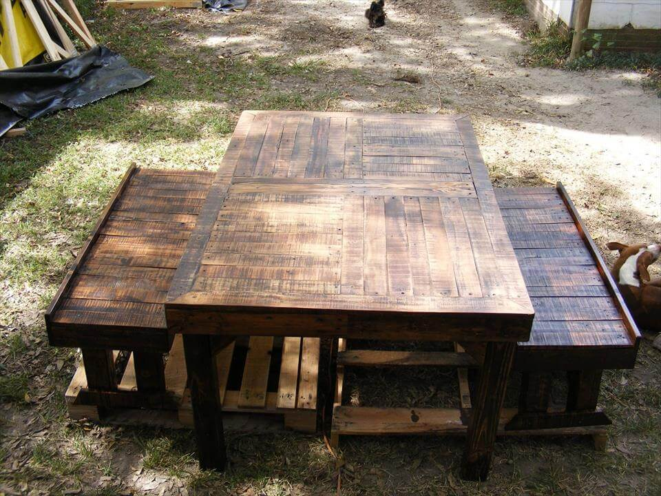 Repurposed pallet benches with dining table