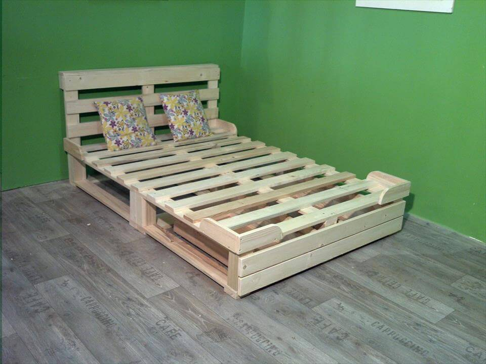 Bed Frame Ideas 9 DIY Easy Wooden Pallet Bed Ideas 6 DIY Pallet Bed ...