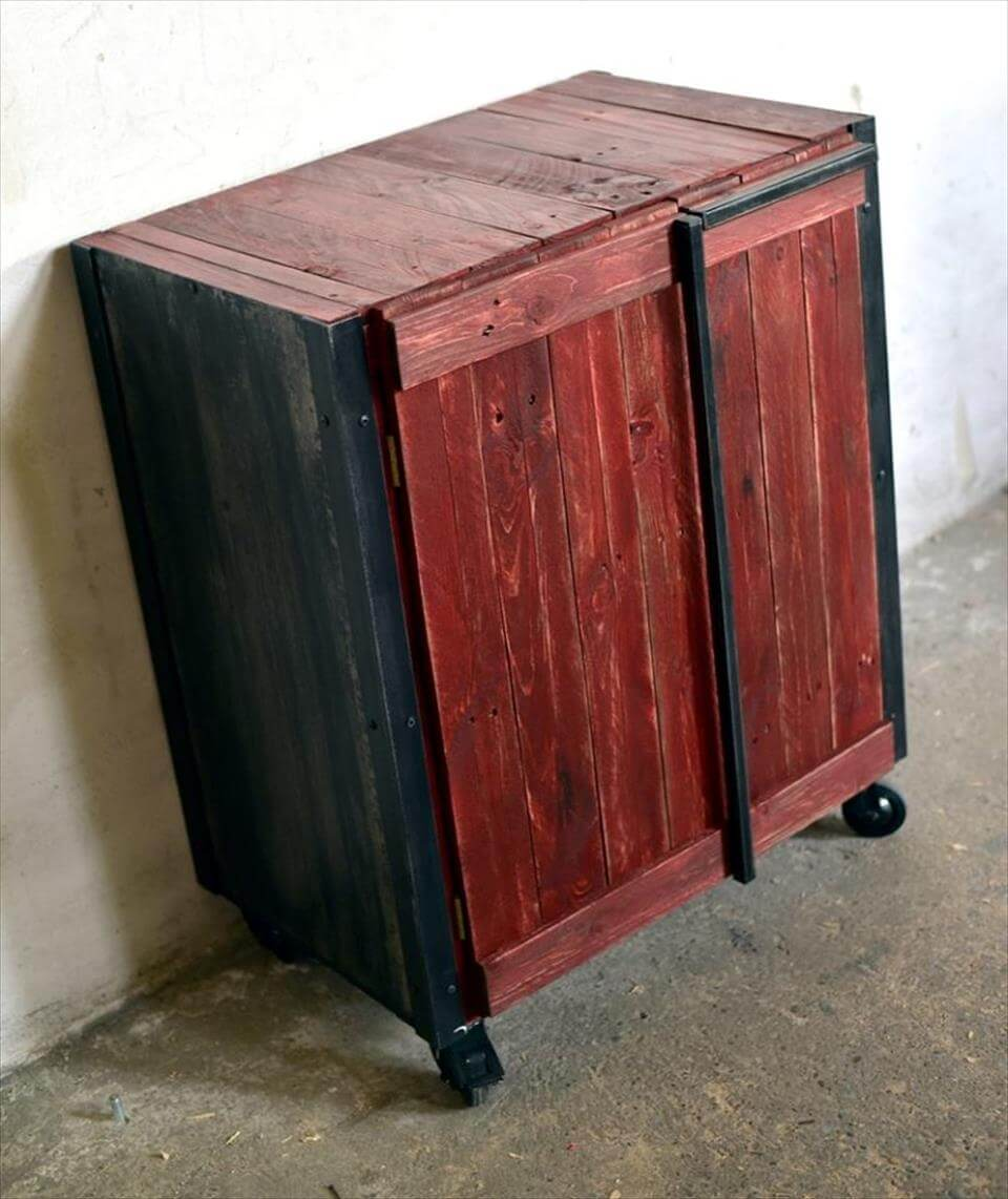 black and maroon stained pallet storage cabinet