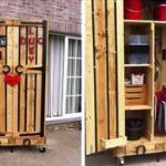 DIY Pallet Armoire – Pallet Cabinet on Wheels