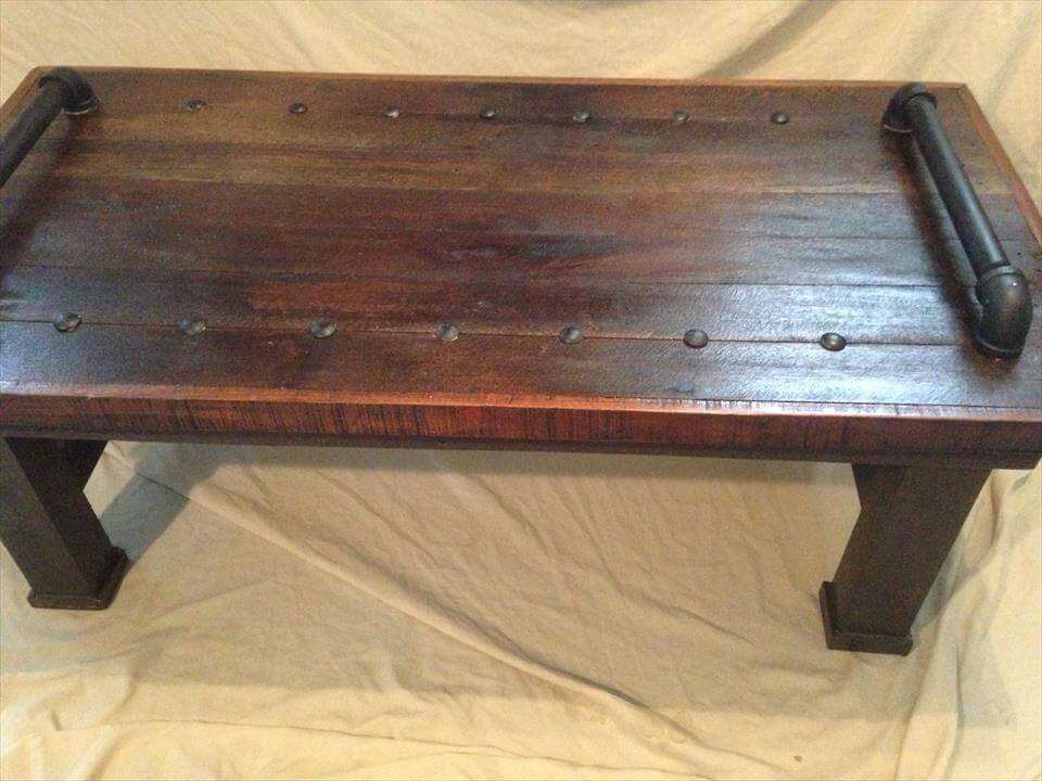 pallet coffee table with metal pipe handles 99 pallets