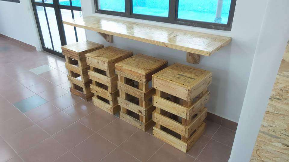 Diy Pallet Wall Hanging Desk With 4 Stools 99 Pallets