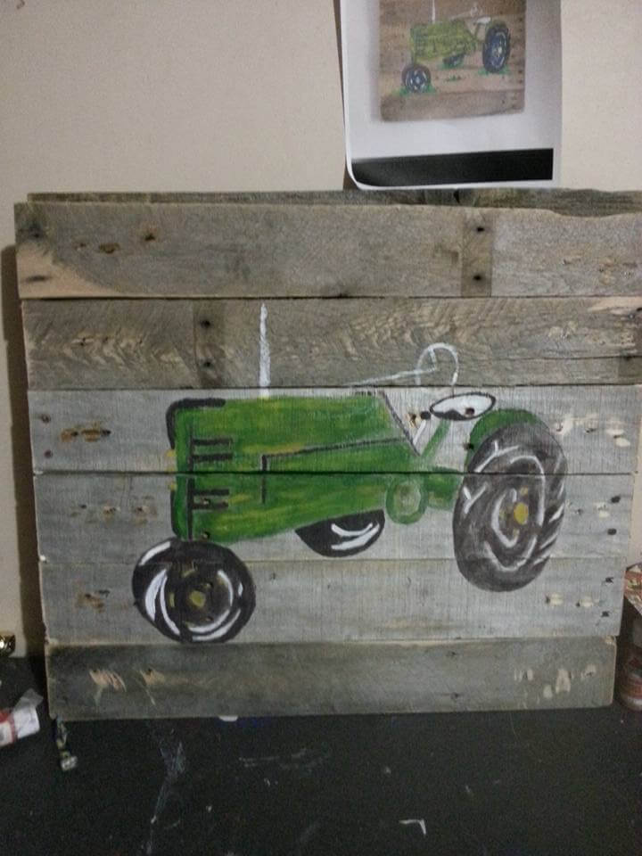 pallet sign art with tractor symbol