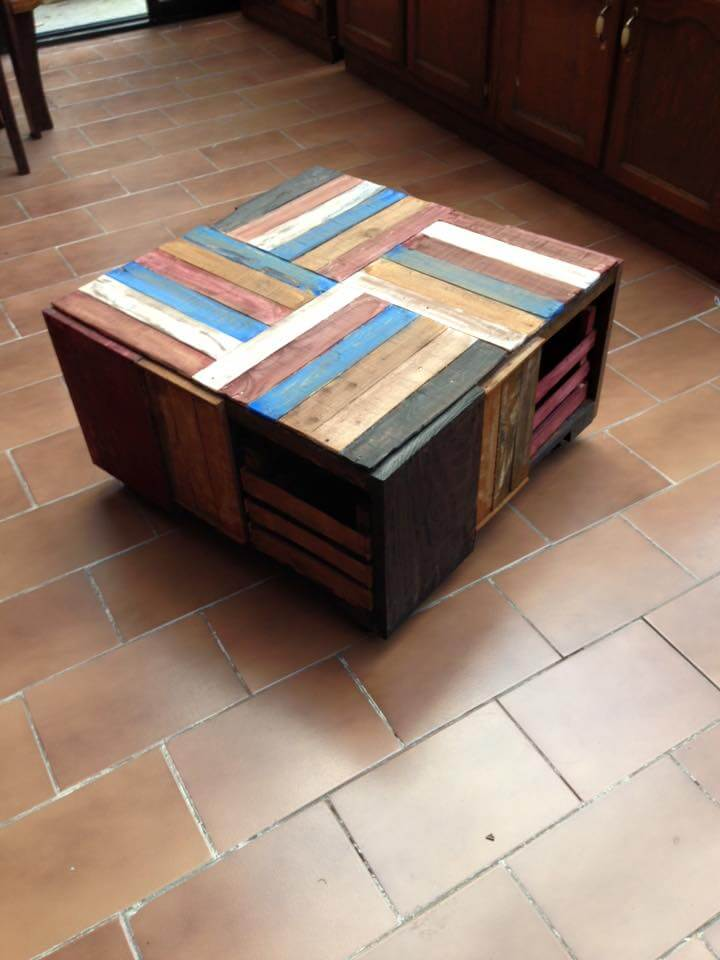 Pallet wood and crate coffee table 99 pallets for Coffee table made out of wooden crates