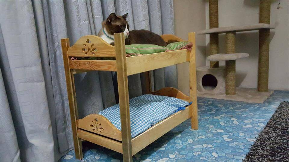 recycled pallet cat bunk bed