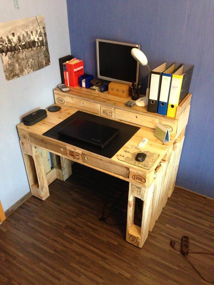 Computer Desk with Shelf and Drawers Wood Pallet Office Computer Desk ...