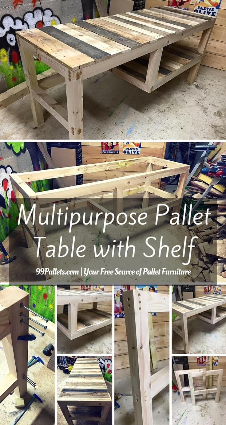 Pallet Table with Shelf