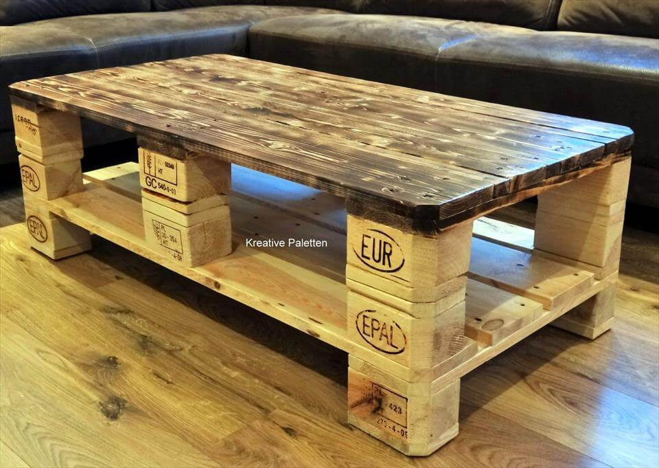 euro pallet wood coffee table 99 pallets. Black Bedroom Furniture Sets. Home Design Ideas