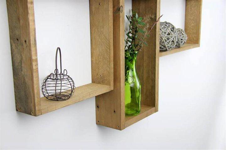 wooden pallet wall mounted shelf