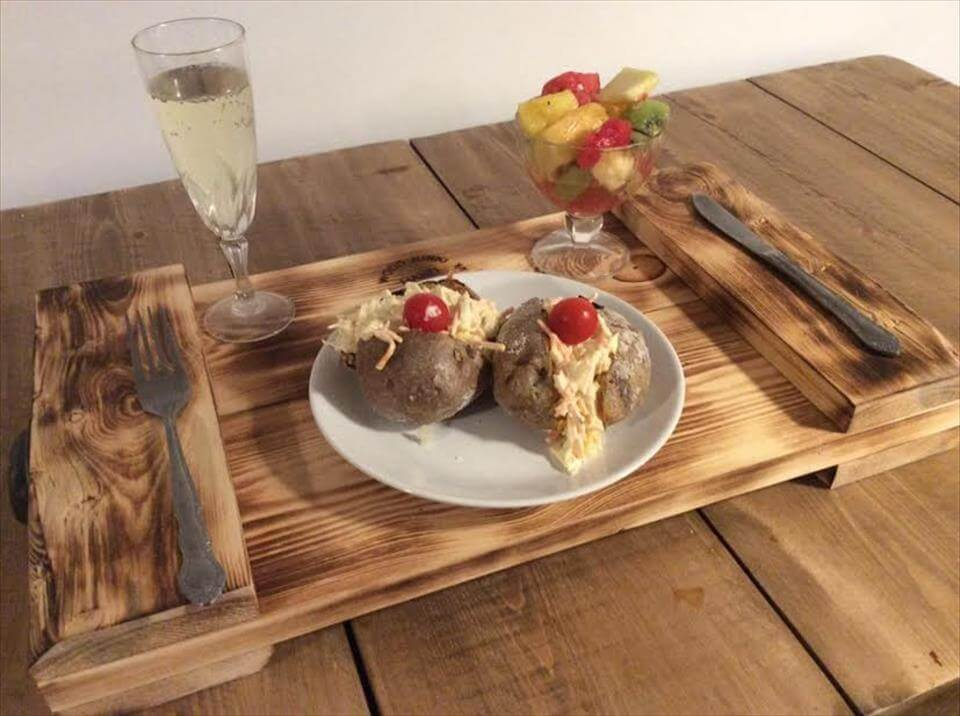 handmade wooden pallet breakfast tray