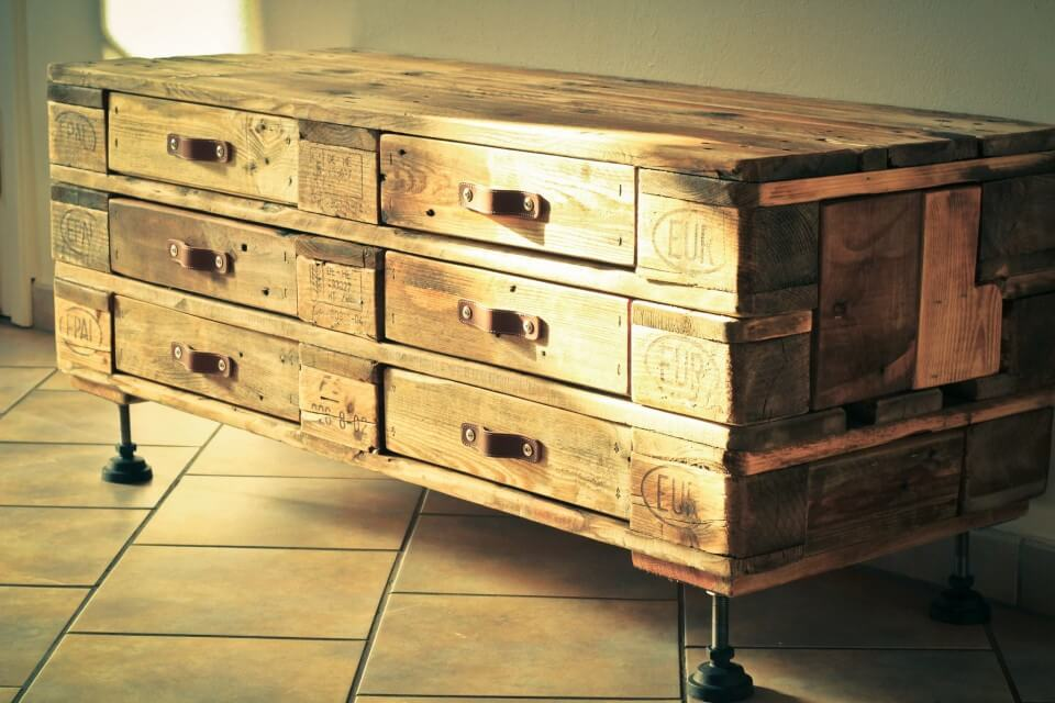 recycled pallet chest of drawers