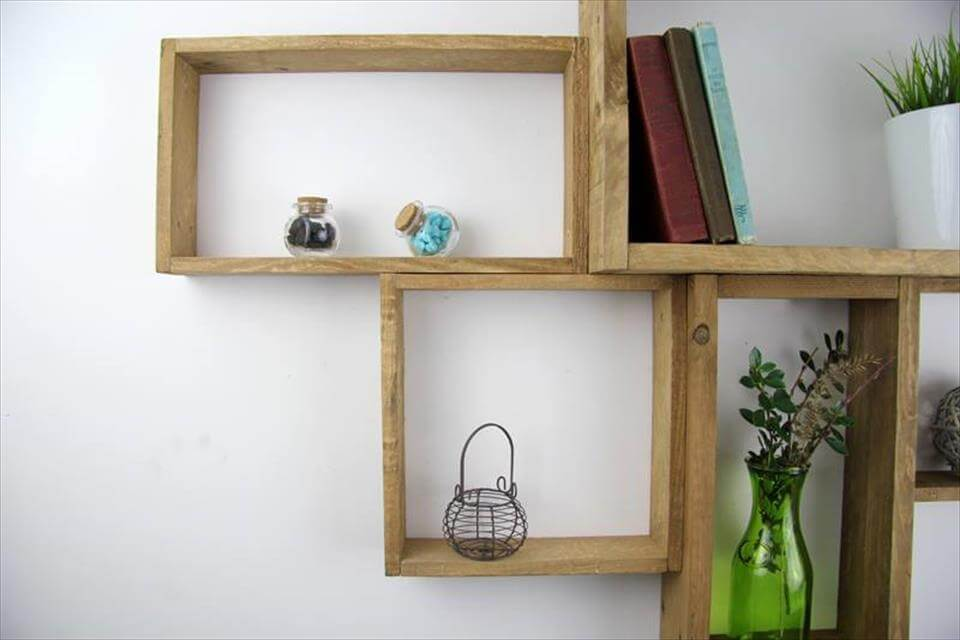Recycled pallet wall mounted shelf