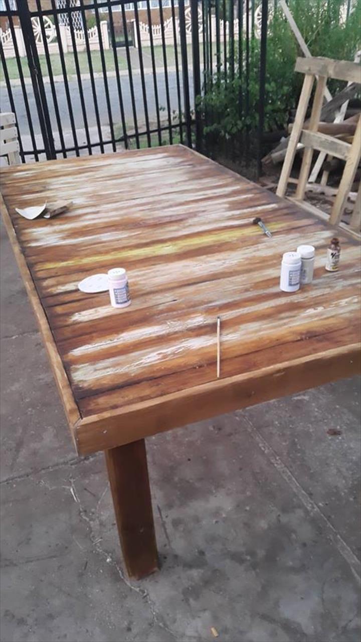 diy pallet xl dining table 99 pallets. Black Bedroom Furniture Sets. Home Design Ideas