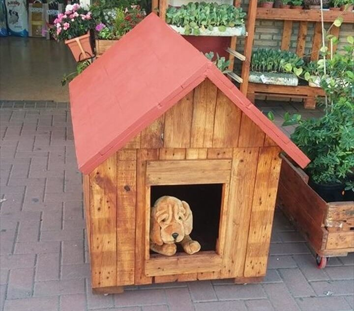 handcrafted pallet doghouse