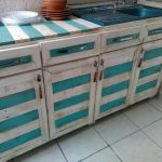 Pallet Kitchen Counter with Cabinets