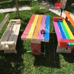 Rainbow Pallet Picnic Table and Bench