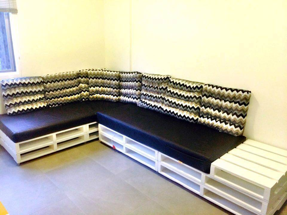 Recycled pallet sectional sofa