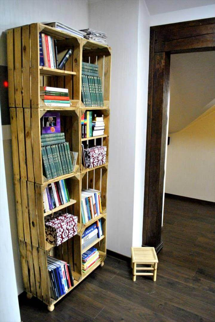 Crate Style Pallet Bookcase Design