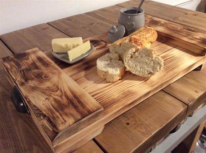 wooden pallet breakfast tray
