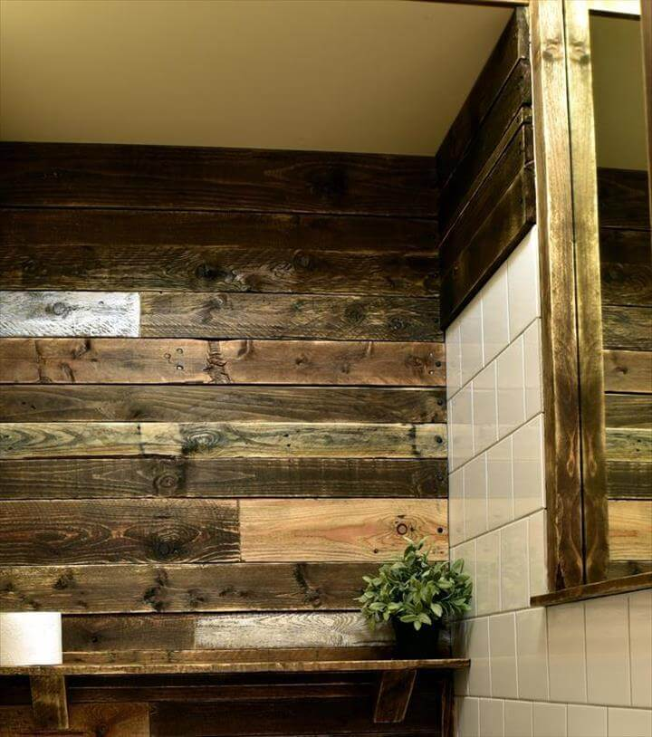 Pallet bathroom ideas 99 pallets for Pallet shower wall
