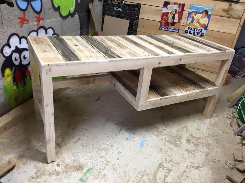 handcrafted pallet multipurpose table with shelf underneath!